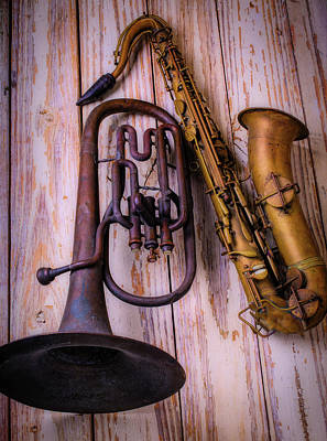 Saxophone Photograph - Two Horns by Garry Gay