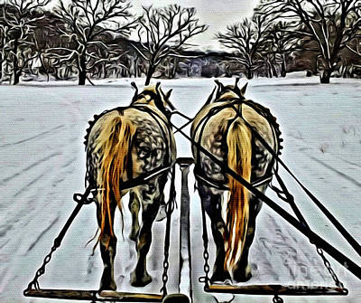 Winter Painting - Two Horse Power by Anthony Djordjevic