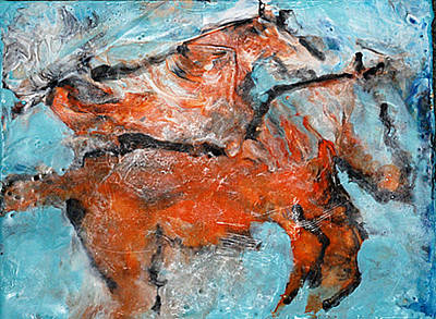 Encaustic Horse Painting - Two Horses #2 by JOANNE McCubrey