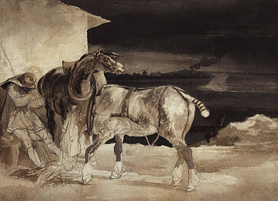 Pen Drawing - Two Horses And A Sleeping Groom  by Theodore Gericault