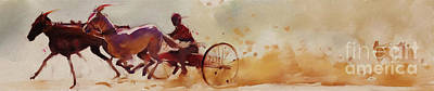 Beautiful Western Cowgirl Painting - Two Horses Cart by Gull G
