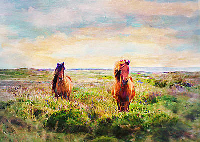 Horse Giclee Painting - Two Horses by Chuck Underwood