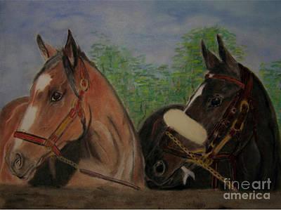 Zenyatta Painting - Two Horses by Georgie McNeese