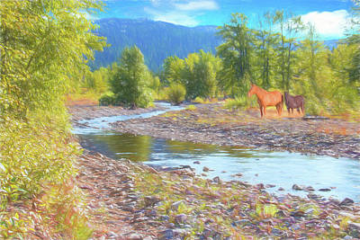 Digital Art - Two Horses In Montana Landscape. by Rusty R Smith