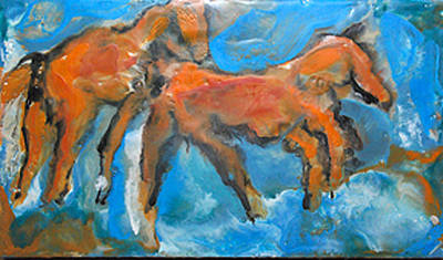 Encaustic Horse Painting - Two Horses by JOANNE McCubrey
