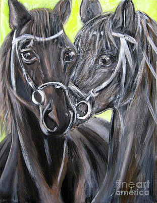 Painting - Two Horses. Painting by Oksana Semenchenko