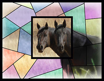 Photograph - Two Horses Stained Glass by Ernie Echols