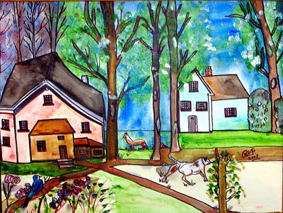 Two Houses In The Woods. Art Print by Patricia Fragola