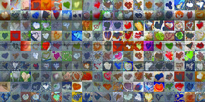 Grid Of Heart Photograph - Two Hundred And One Hearts by Boy Sees Hearts