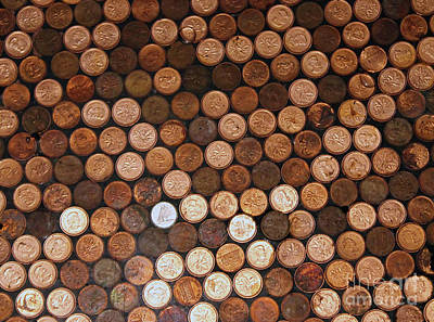 Photograph - Two Hundred Pennies And Two Water Drops by Nina Silver