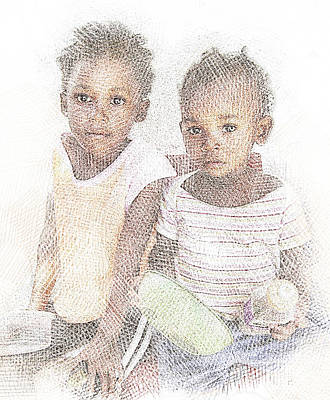 Digital Art - Two Hungry Girls by Jan Hattingh