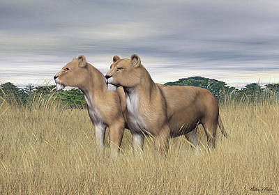 Digital Art - Two Hunters by Walter Colvin