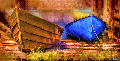 Digital Art - Two Idle Boats by Ken Morris