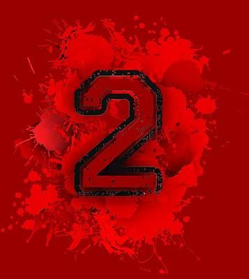 Numbers Digital Art - Two In Red Stain by Alberto RuiZ