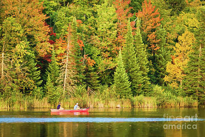 Digital Art - Two In The Red Canoe by Lori Dobbs