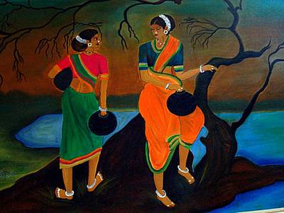 Two Indian Ladies On The River-side Art Print by Xafira Mendonsa