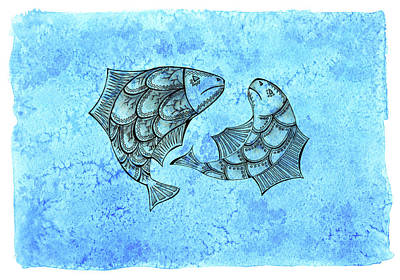 Zodiac Symbols Mixed Media - Two Inkpen Hand Drawn Fish On Abstract Watercolor Blue Background by Victoria Yurkova