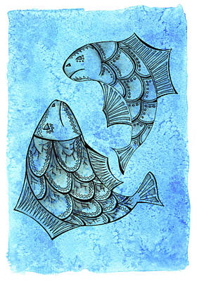 Zodiac Symbols Mixed Media - Two Inkpen Hand Drawn Large Fish On Abstract Watercolor Blue Bac by Victoria Yurkova