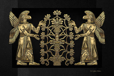 Digital Art - Two Instances Of Gold God Ninurta With Tree Of Life Over Black Canvas by Serge Averbukh