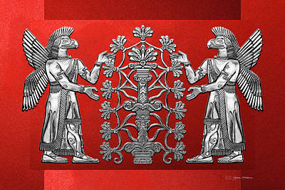Digital Art - Two Instances Of Silver God Ninurta With Tree Of Life Over Red Canvas by Serge Averbukh