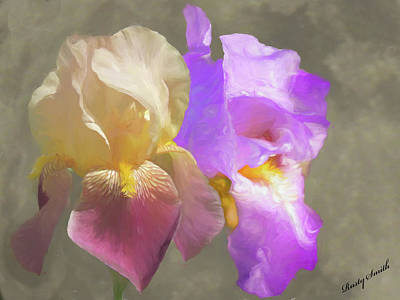 Digital Art - Two Iris Blossoms. by Rusty R Smith