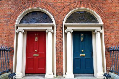 Photograph - Two Irish Georgian Doors by John Rizzuto