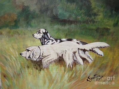 Painting - Blaa Kattproduksjoner                          Two Irish Setters by Sigrid Tune