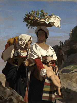 Jean-leon Gerome Painting - Two Italian Peasant Women And An Infant by Jean-Leon Gerome