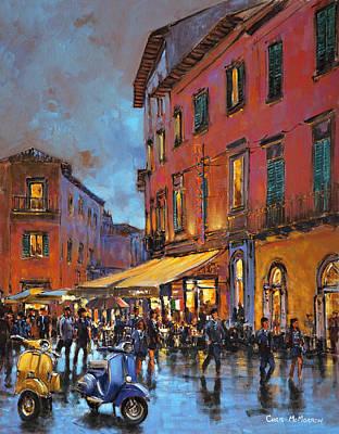 Italian Street Painting - Two Italian Vespa Scooters by Chris Mc Morrow