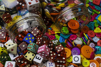 Photograph - Two Jars Full Of Dice And Buttons by Garry Gay