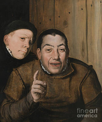 Clown Pair Painting - Two Jesters by Flemish School