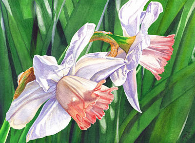 Daffodils Painting - Two Jonquils by Catherine G McElroy