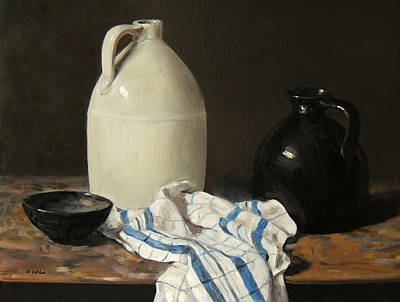 Painting - Two Early American Jugs And A Dishcloth by Robert Holden