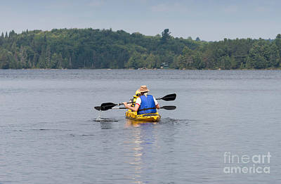Photograph - Two Kayak Paddlers by Les Palenik