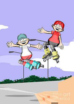 Two Kids Rollerblading Jumping Down Stairs Art Print