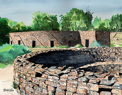 Kiva Painting - Two Kivas Aztec Ruins by Timithy L Gordon