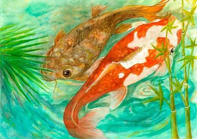 Japanese Tea Garden Painting - Two Koi Ephemeral by Lynn Maverick Denzer