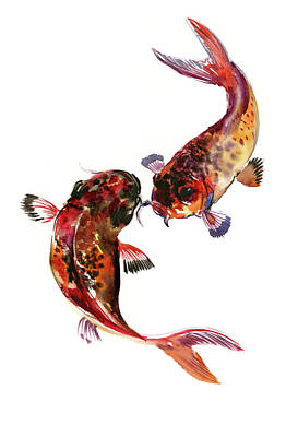 Painting - Two Koi Fish, Feng Shui Art by Suren Nersisyan