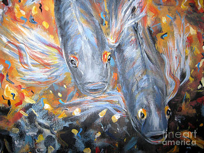 Painting - Two Koi Fish. Image Of  Painting by Oksana Semenchenko