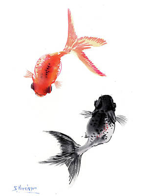 Goldfish Drawing - Two Koi by Suren Nersisyan