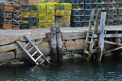 Photograph - Two Ladders At High Tide by Mike Martin