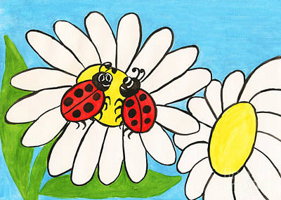 Painting - Two Ladybirds On Camomile, Painting by Irina Afonskaya