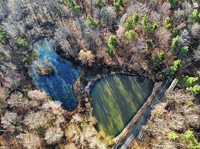 Photograph - Two Lakes In A Forest Drone Photography by Matthias Hauser