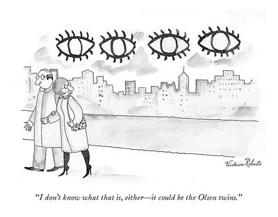 Drawing - Two Large Sets Of Eyes Loom Over City Skyline. by Victoria Roberts