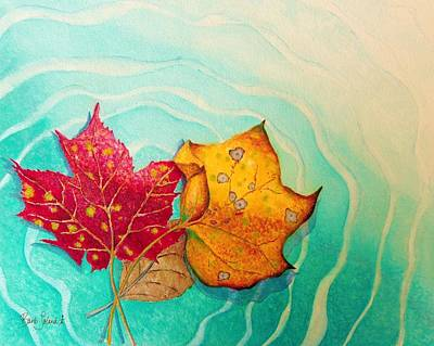 Painting - Two Leaves' Heart Dance by Barb Toland