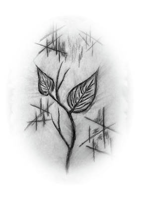 Drawing - Two Leaves by John Krakora