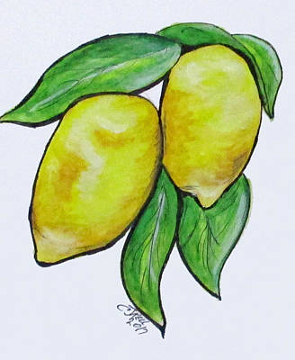 Painting - Two Lemons by Clyde J Kell