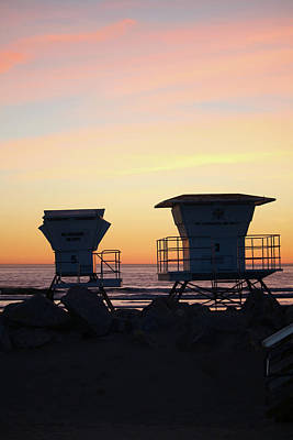 Photograph - Two Lifeguard Towers by Art Block Collections