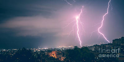 Photograph - Two Lightning In The City At Night by Anna Om
