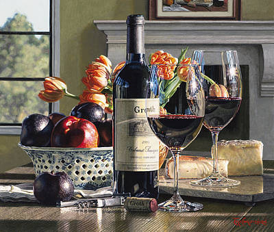 Napa Valley Vineyard Watercolor Painting - Two Lips Required by Eric Christensen